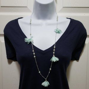 NWT Silver Flower Bead Long Necklace A New Day